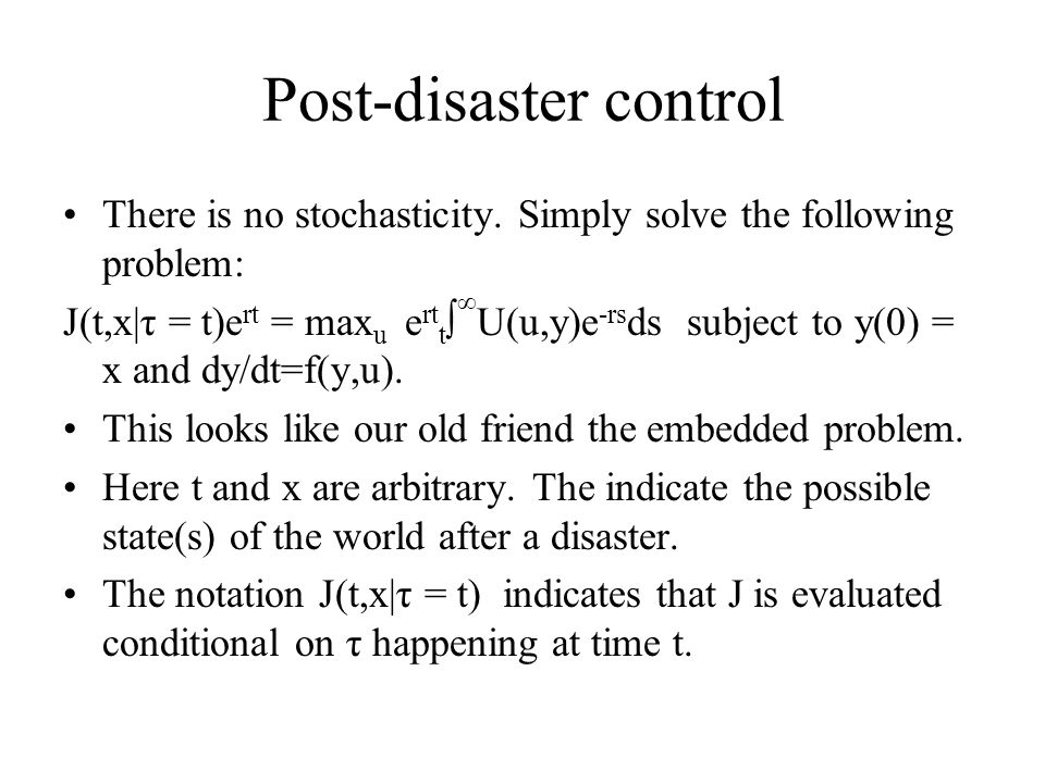 Post-disaster control