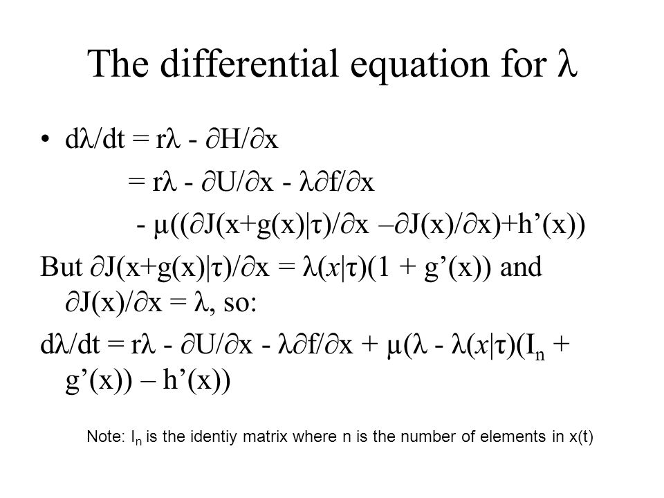 The differential equation for λ