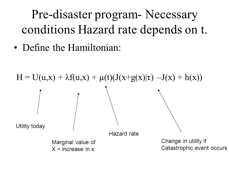 Pre-disaster program- Necessary conditions Hazard rate depends on t.