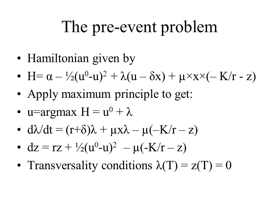 The pre-event problem Hamiltonian given by