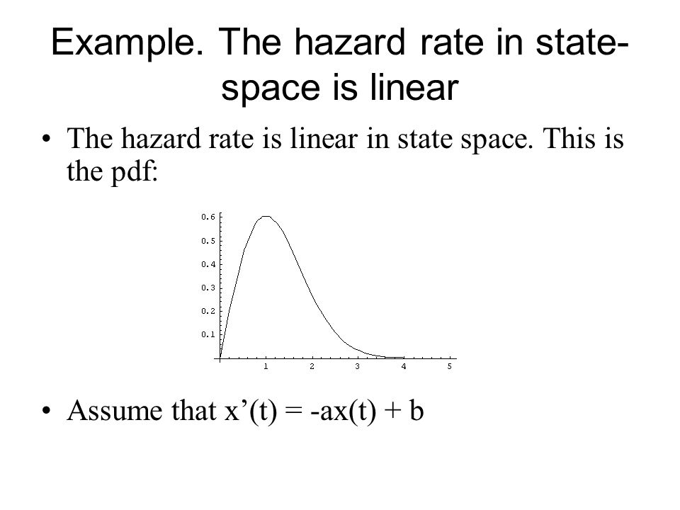 Example. The hazard rate in state-space is linear