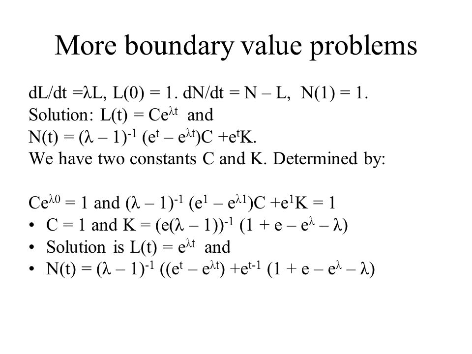 More boundary value problems