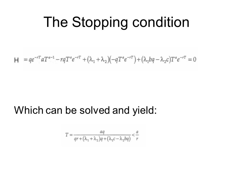 The Stopping condition