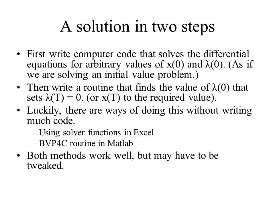 A solution in two steps