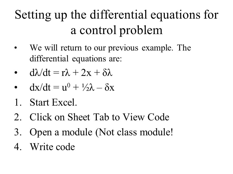 Setting up the differential equations for a control problem
