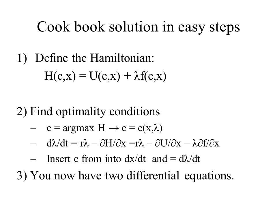 Cook book solution in easy steps