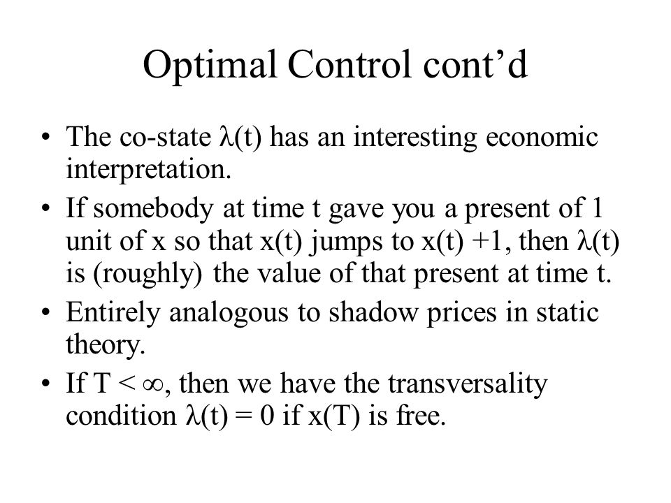 Optimal Control cont'd