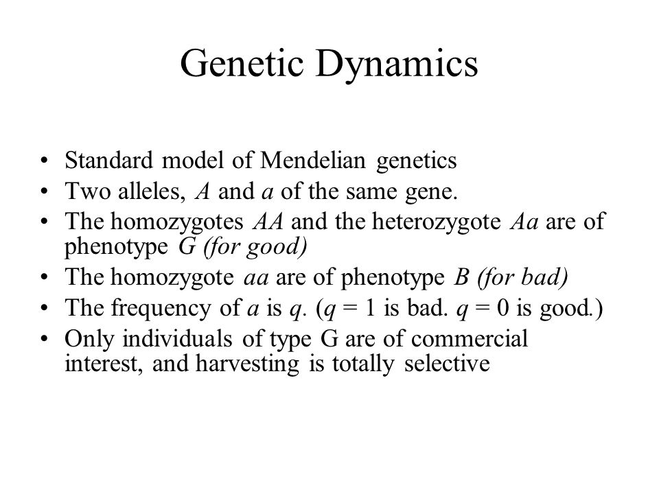 Genetic Dynamics Standard model of Mendelian genetics