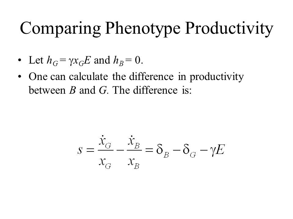 Comparing Phenotype Productivity