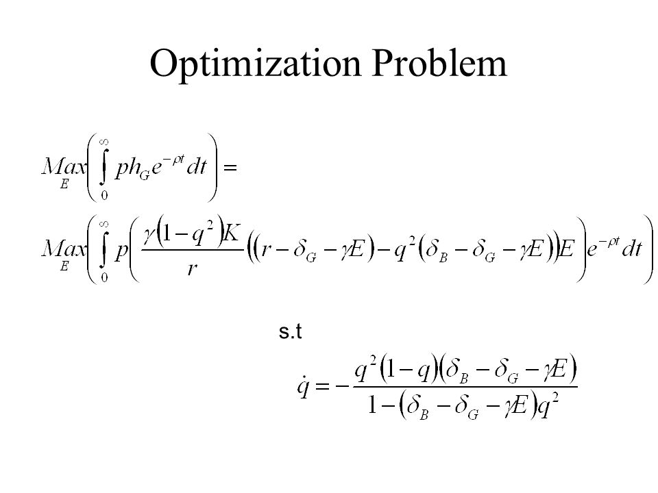 Optimization Problem s.t