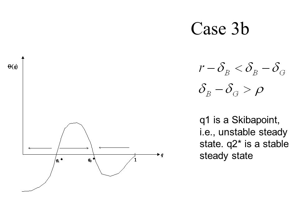 Case 3b q1 is a Skibapoint, i.e., unstable steady state. q2* is a stable steady state