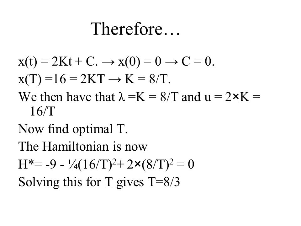 Therefore… x(t) = 2Kt + C. → x(0) = 0 → C = 0.