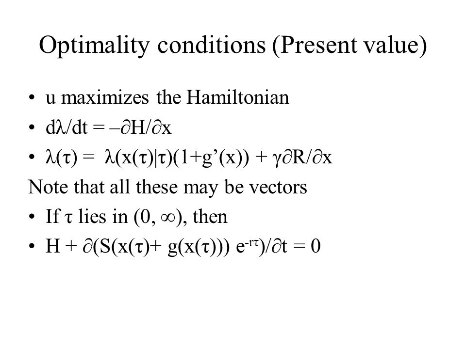 Optimality conditions (Present value)