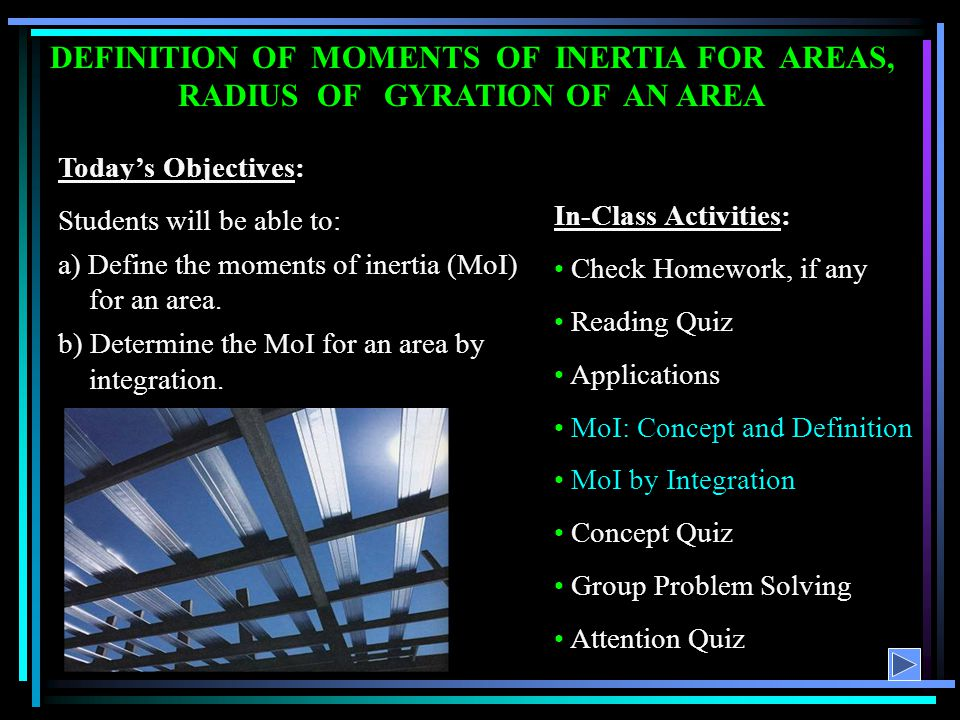 DEFINITION OF MOMENTS OF INERTIA FOR AREAS, RADIUS OF GYRATION OF AN AREA