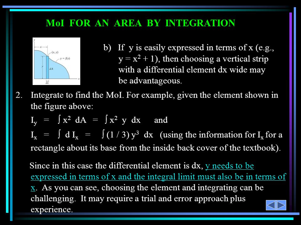 MoI FOR AN AREA BY INTEGRATION