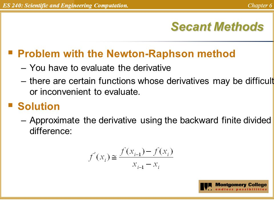Secant Methods Problem with the Newton-Raphson method Solution