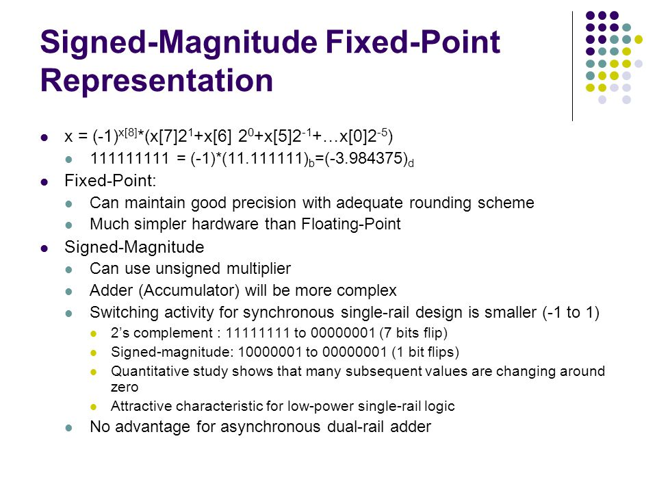 Signed-Magnitude Fixed-Point Representation