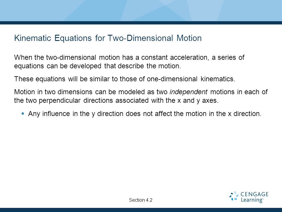 Kinematic Equations for Two-Dimensional Motion