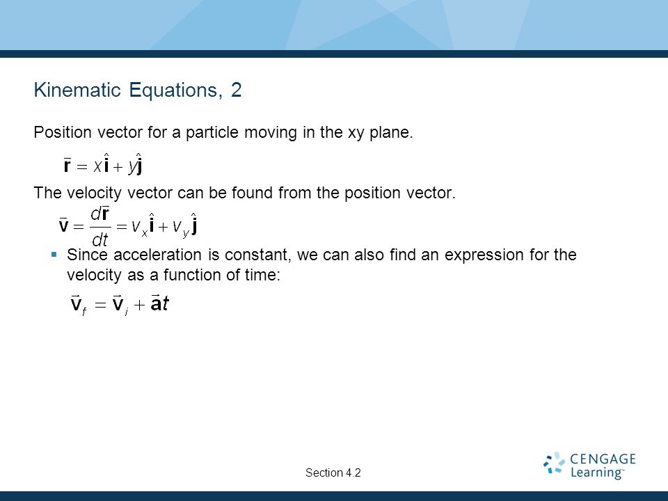 Kinematic Equations, 2 Position vector for a particle moving in the xy plane. The velocity vector can be found from the position vector.
