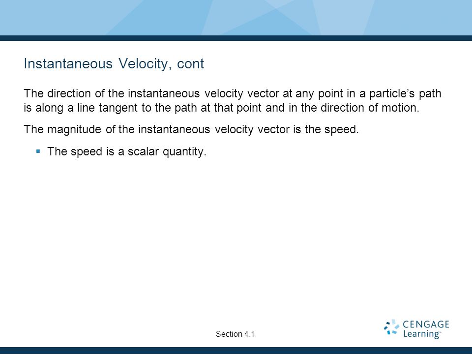 Instantaneous Velocity, cont