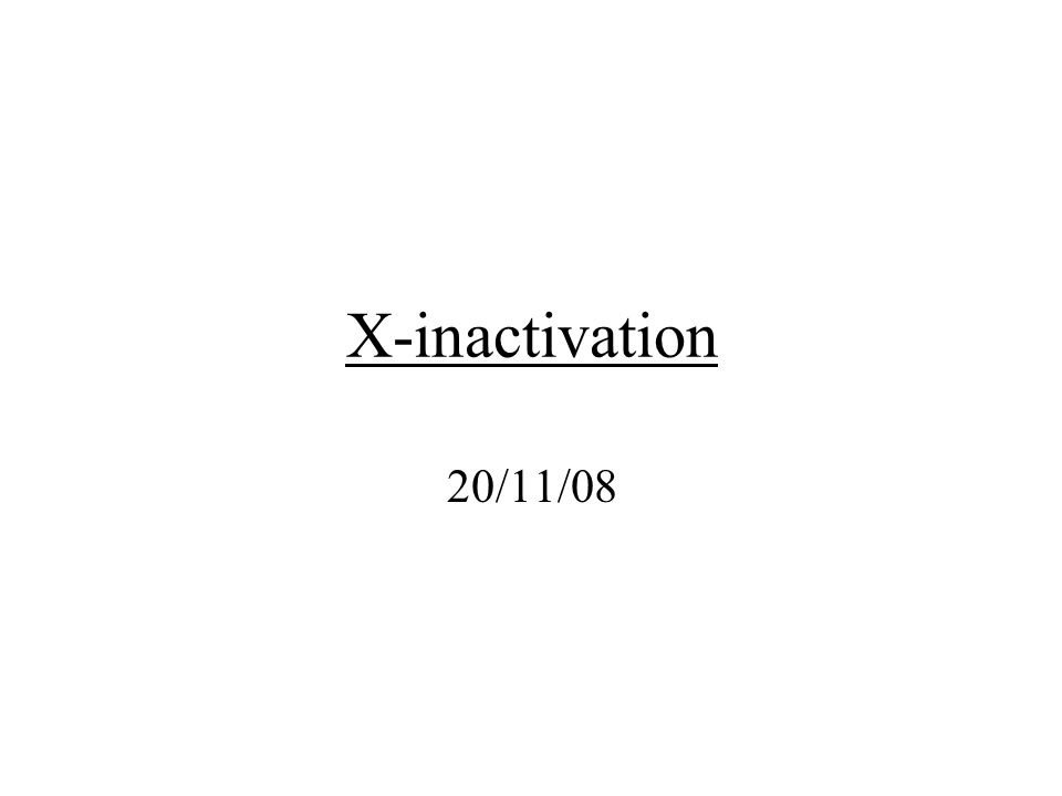 X-inactivation 20/11/08