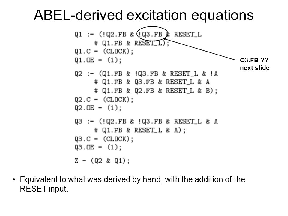 ABEL-derived excitation equations