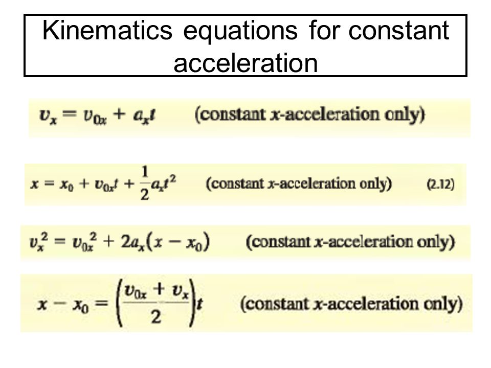 Kinematics equations for constant acceleration