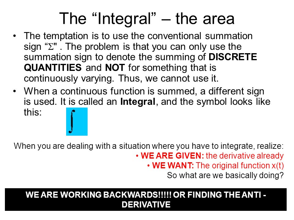 The Integral – the area