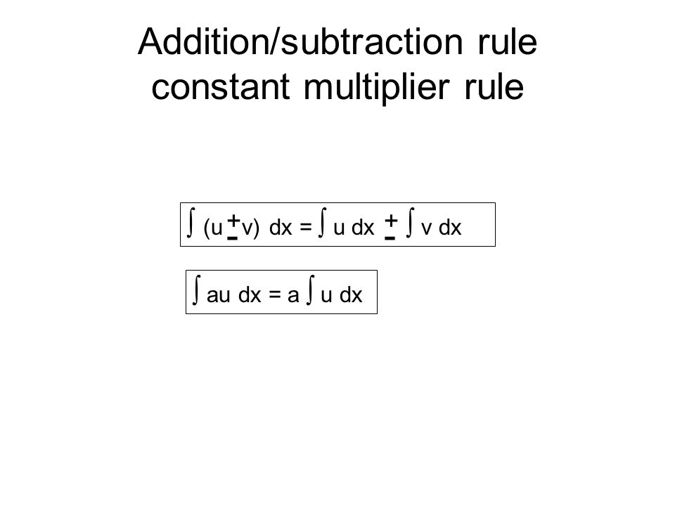 Addition/subtraction rule constant multiplier rule