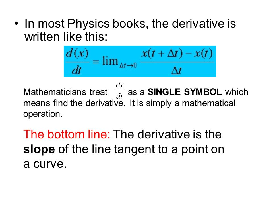 In most Physics books, the derivative is written like this: