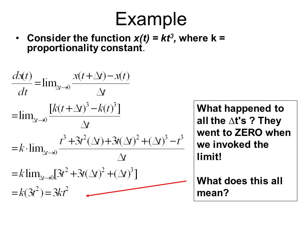 Example Consider the function x(t) = kt3, where k = proportionality constant.