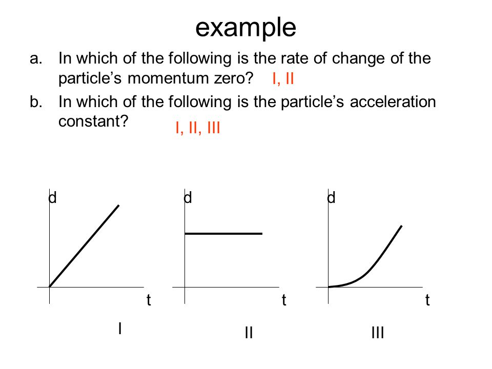 example In which of the following is the rate of change of the particle's momentum zero