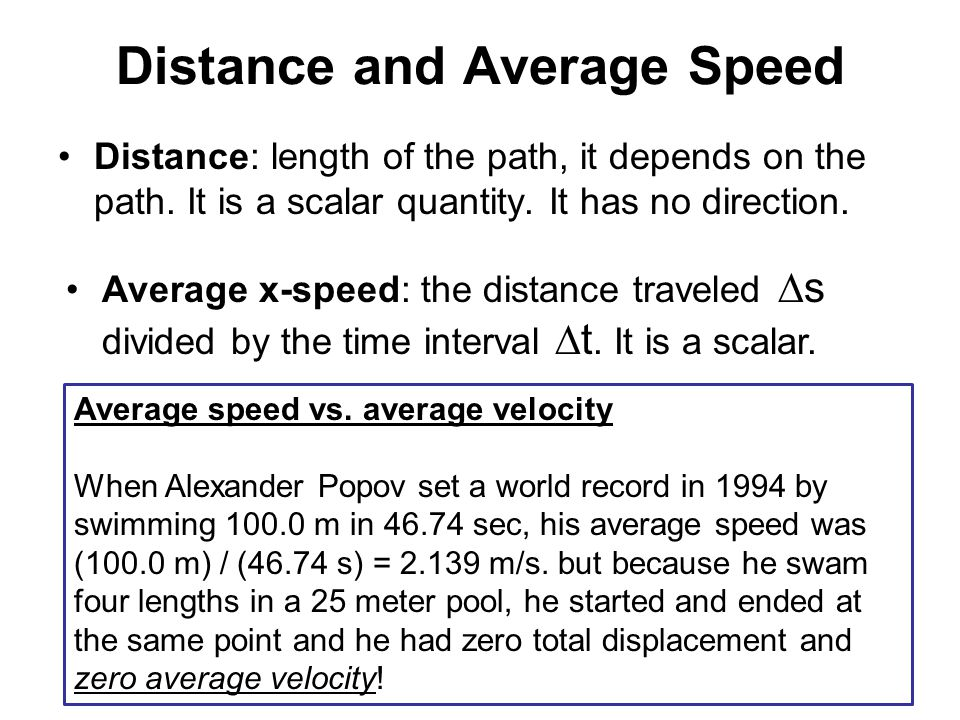 Distance and Average Speed