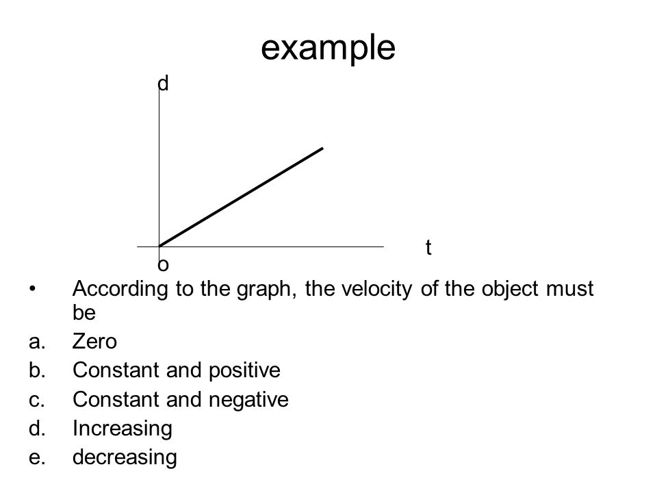example d. t. o. According to the graph, the velocity of the object must be. Zero. Constant and positive.