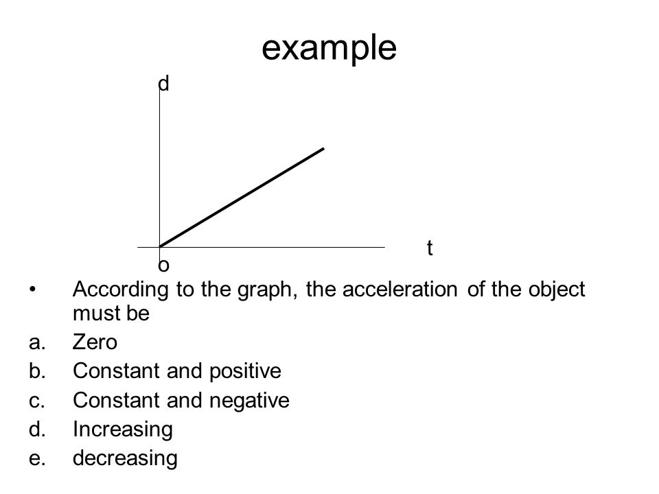 example d. t. o. According to the graph, the acceleration of the object must be. Zero. Constant and positive.
