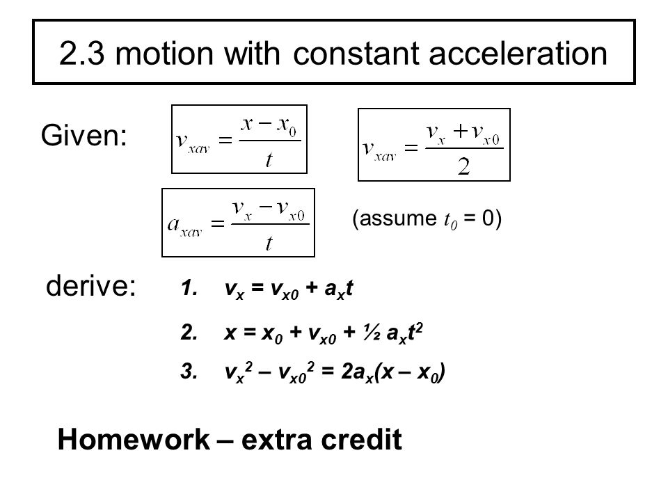 2.3 motion with constant acceleration