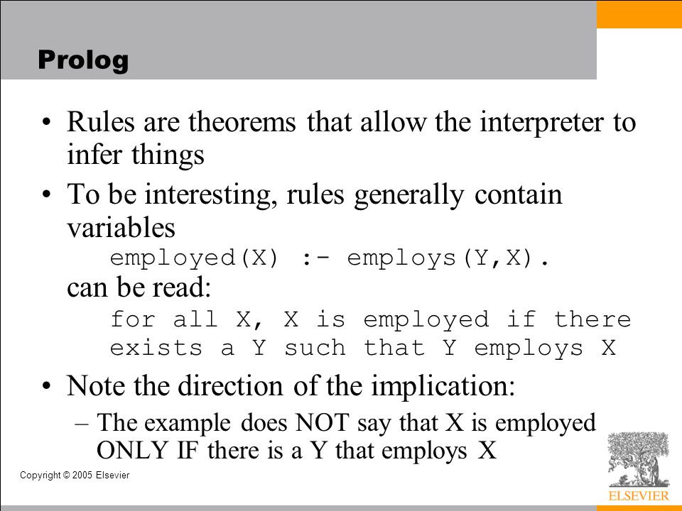 Rules are theorems that allow the interpreter to infer things