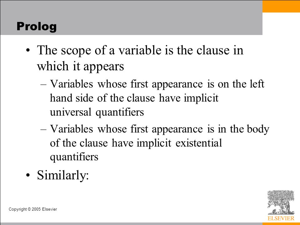The scope of a variable is the clause in which it appears