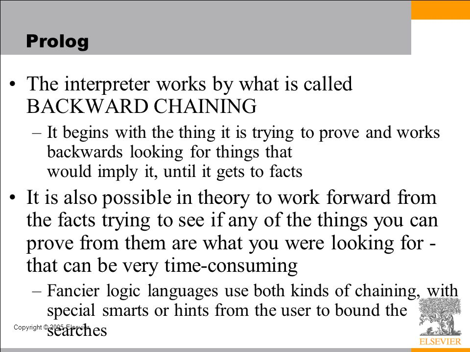 The interpreter works by what is called BACKWARD CHAINING