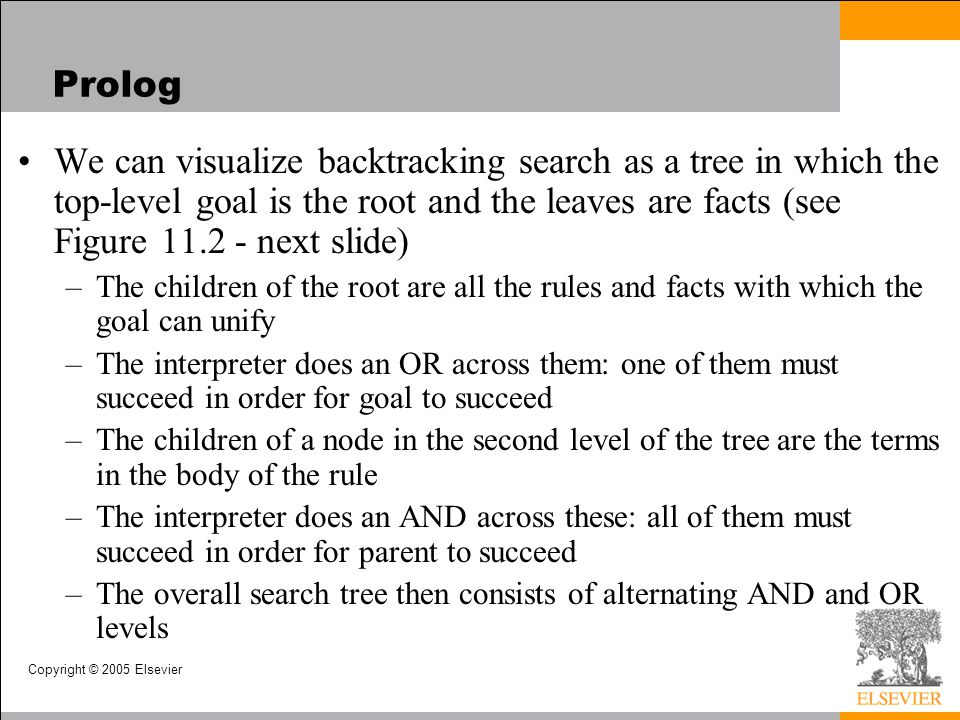 Prolog We can visualize backtracking search as a tree in which the top-level goal is the root and the leaves are facts (see Figure 11.2 - next slide)