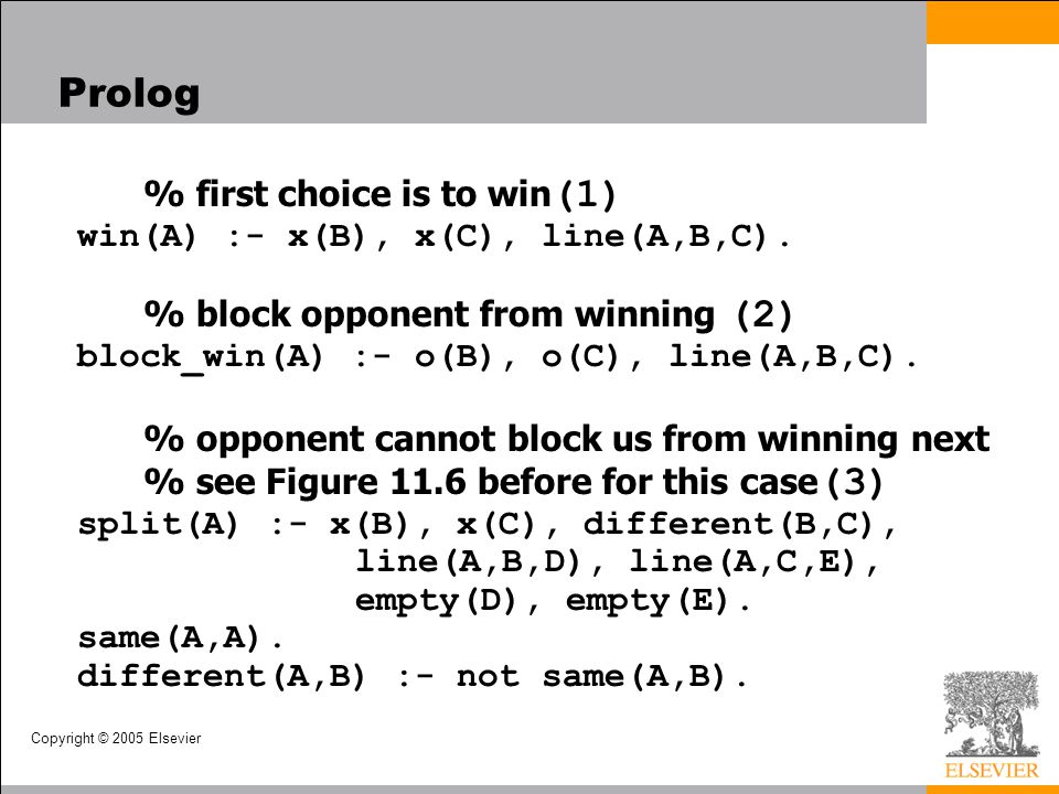 Prolog % first choice is to win(1) win(A) :- x(B), x(C), line(A,B,C). % block opponent from winning (2) block_win(A) :- o(B), o(C), line(A,B,C).