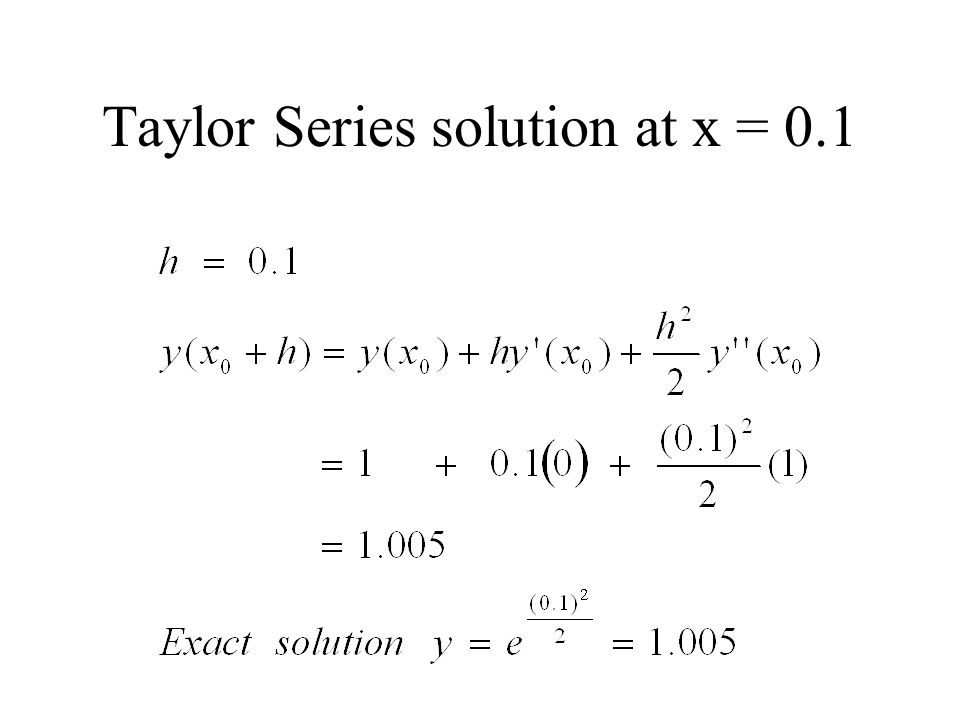 Taylor Series solution at x = 0.1