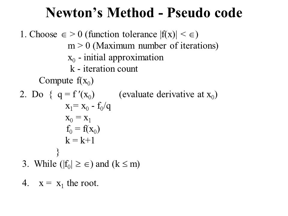 Newton's Method - Pseudo code
