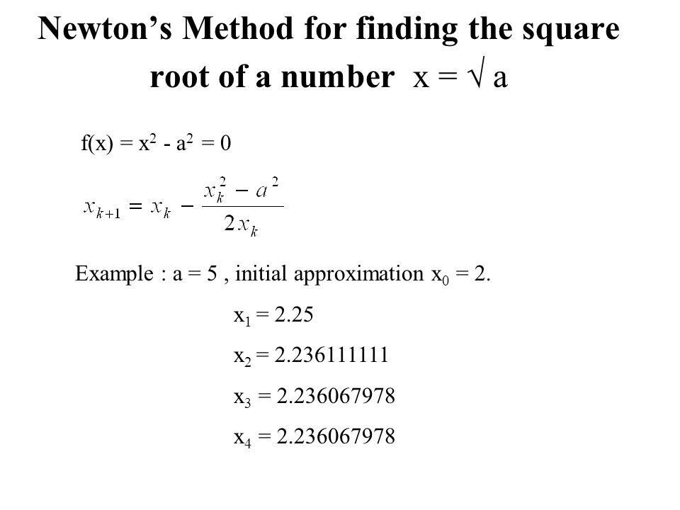 Newton's Method for finding the square root of a number x =  a