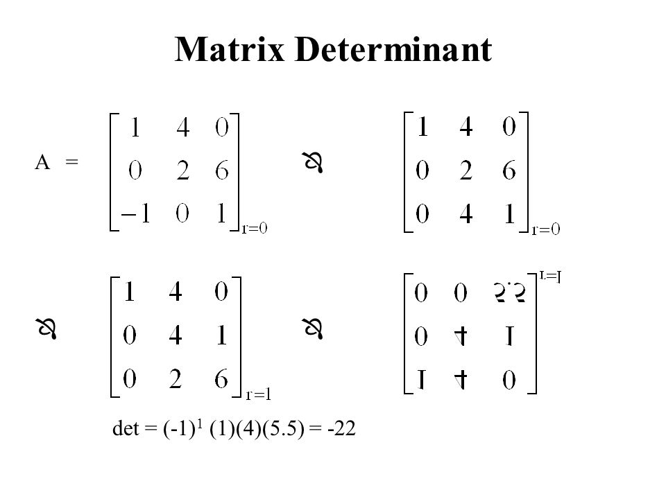 Matrix Determinant A =    det = (-1)1 (1)(4)(5.5) = -22