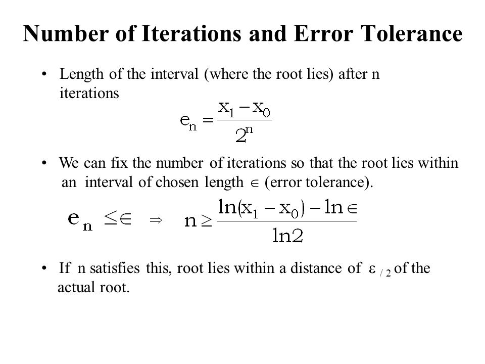 Number of Iterations and Error Tolerance