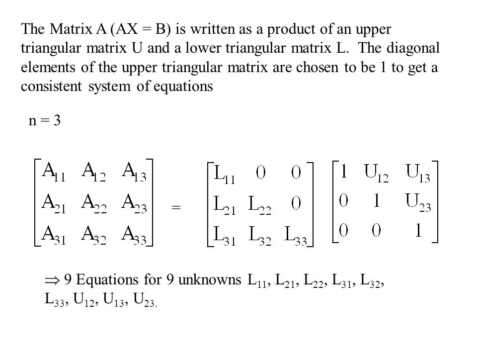 The Matrix A (AX = B) is written as a product of an upper triangular matrix U and a lower triangular matrix L. The diagonal elements of the upper triangular matrix are chosen to be 1 to get a consistent system of equations