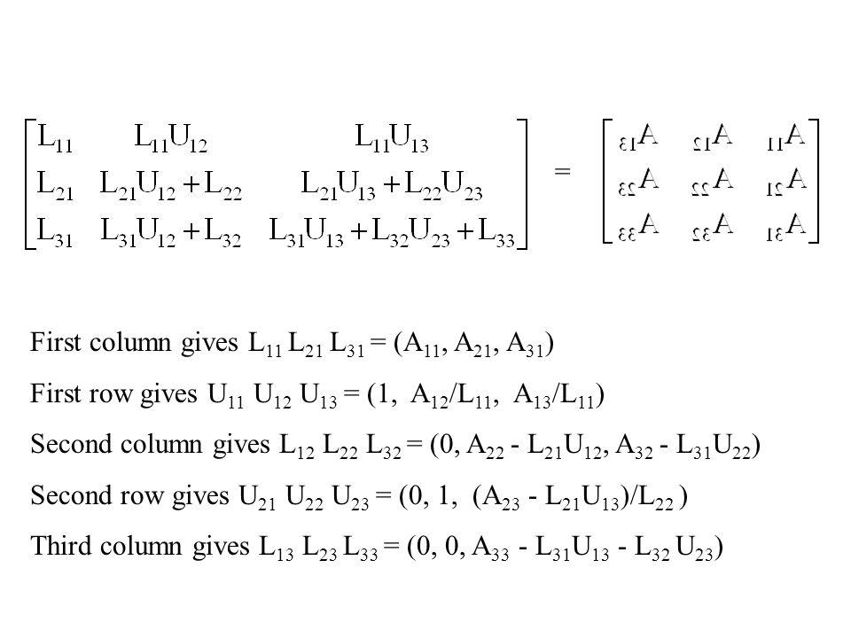 = First column gives L11 L21 L31 = (A11, A21, A31) First row gives U11 U12 U13 = (1, A12/L11, A13/L11)