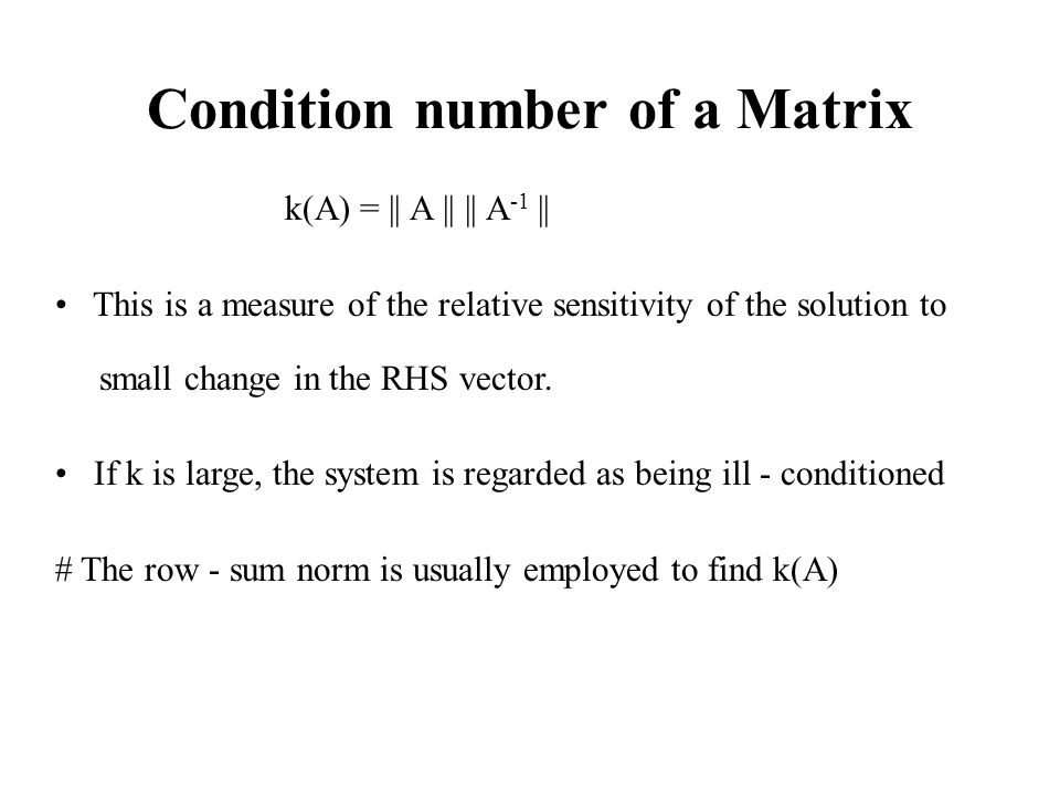 Condition number of a Matrix