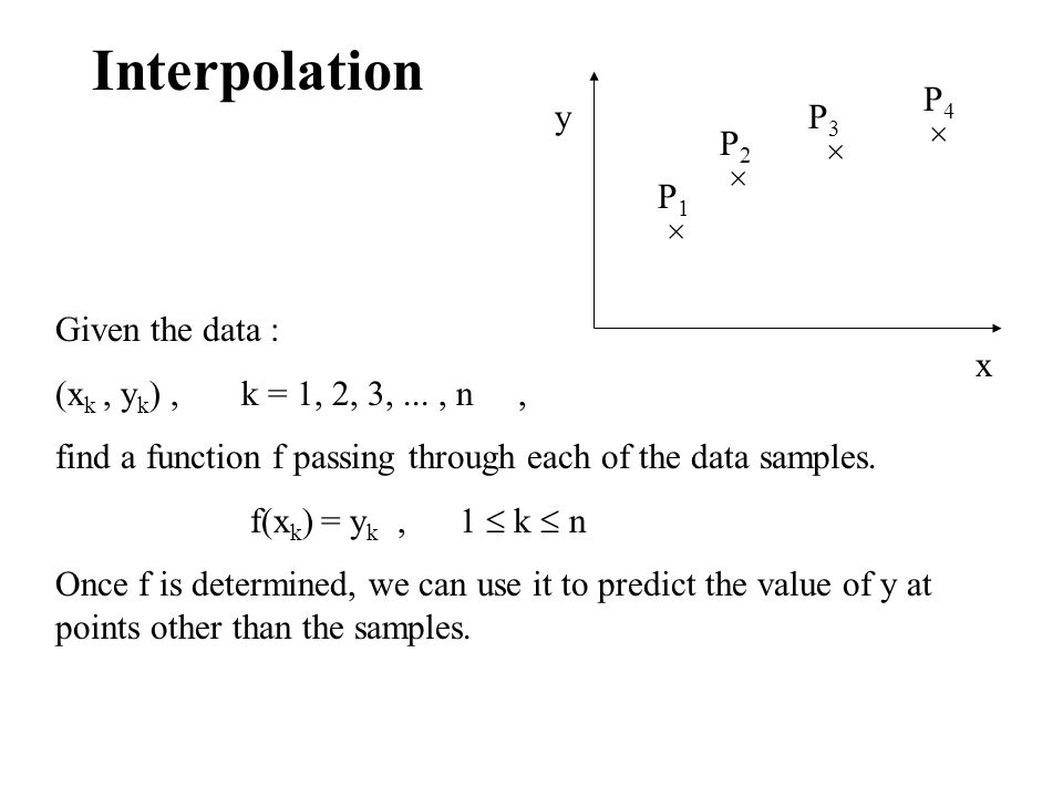 Interpolation P4 y P3 × P2 × × P1 × Given the data :